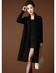 cheap -Women's Daily Long Cardigan,Solid Boat Neck Long Sleeves Others Winter Fall Thick Micro-elastic