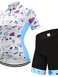 billiga Sport och friluftsliv-FUALRNY® Dam Kortärmad Cykeltröja med shorts - Vit Cykel Klädesset, Snabb tork, Reflexremsa Lycra