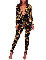 abordables -Femme Soirée Bohème Combinaison-pantalon - Imprimé, Couleur Pleine V Profond