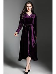 baratos -Mulheres Moda de Rua Veludo balanço Vestido Sólido Decote V Médio