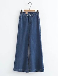 cheap -Women's Mid Rise Micro-elastic Wide Leg Jeans Pants Solid Cotton Others Spring Summer Fall