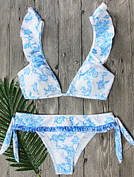 Women's Bikini Lace Up Plunging Neckline Cross Floral Bandage Print