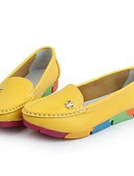 Femme Chaussures Polyuréthane Printemps Automne Confort Mocassins et Chaussons+D6148 Pour Décontracté Blanc Jaune Vert Bleu