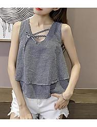 cheap -Women's Daily Going out Cute Casual Summer Tank Top,Check Strap Sleeveless Cotton Linen Medium