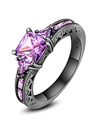Women's Engagement Ring Multi-stone Punk Luxury Cubic Zirconia Copper Circle Geometric Jewelry For Party Gift