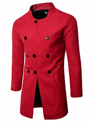 cheap -Men's Long Plus Size Coat - Solid Colored Stand
