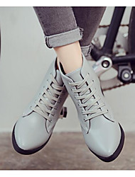 cheap -Women's Shoes Nappa Leather Cowhide Winter Fall Fashion Boots Combat Boots Boots Chunky Heel Booties/Ankle Boots for Casual Black Gray
