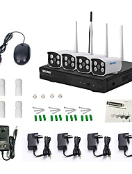 economico -escam wnk403 plug and play kit wireless nvr kit p2p 720p hd esterno visore notturno sicurezza sistema IP wifi