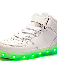 cheap -Boys' Shoes PU Spring Fall Light Up Shoes Novelty Comfort Sneakers LED Magic Tape Lace-up for Casual Outdoor White Black Red