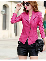 Women's Going out Casual/Daily Street chic Fall Winter Leather Jacket,Solid Peaked Lapel Long Sleeve Short PU