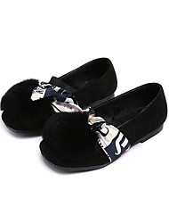 Girls' Shoes Fleece Fall Winter Comfort Flower Girl Shoes Loafers & Slip-Ons Bowknot For Casual Dress Green Red Brown Black