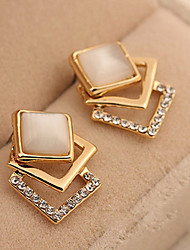 cheap -Women's Stud Earrings Imitation Diamond Fashion Classic Zircon Alloy Square Jewelry For Daily Stage