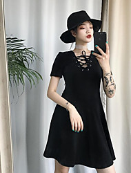cheap -Women's Going out Little Black Dress,Solid V Neck Above Knee Sleeveless Others Summer Mid Rise Micro-elastic Opaque