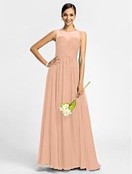 cheap -Product Sample A-Line Princess Bateau Neck Floor Length Chiffon Bridesmaid Dress with Ruched Criss Cross by LAN TING BRIDE®