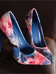 preiswerte -Damen Schuhe Leder Frühling Herbst Komfort High Heels Stöckelabsatz Spitze Zehe für Normal Blau Rosa