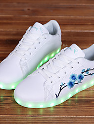 cheap -Women's Shoes Synthetic Fall Winter Light Up Shoes Comfort Sneakers Flat Heel Round Toe LED Lace-up Flower For Casual Outdoor Green/Blue