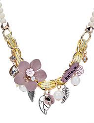 abordables -Femme Colliers Déclaration - Fleur Bohème, Doux Gris, Rose, Bleu clair Colliers Tendance Pour Soirée