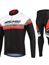cheap -Arsuxeo Men's Cycling Jersey with Tights - White Black Bike Clothing Suits, Quick Dry