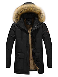 cheap -Men's Regular Padded Coat,Casual Daily Solid-Cotton Cotton Long Sleeves Hooded