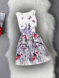 Robe Fille de Anniversaire Sortie Décontracté / Quotidien Vacances Couleur Pleine Fleur Jacquard Coton Polyester Printemps Eté Sans
