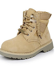 cheap -Boys' Shoes Nubuck leather Winter Fall Combat Boots Comfort Boots for Casual Khaki