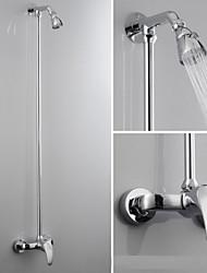 Moderne Système de douche Douche pluie with  Soupape céramique 2 trous for  Chrome , Robinet de douche