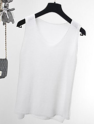 cheap -Women's Beach Regular Vest,Solid U Neck Sleeveless Others Spring Summer Medium Micro-elastic