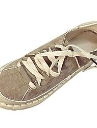 economico -Da donna Scarpe PU (Poliuretano) Autunno Inverno Comoda Sneakers Piatto Punta tonda Lacci Per Casual Nero Verde Tessuto almond