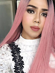 abordables -Cheveux Synthétiques Perruques Droite Cheveux Colorés Sans bonnet Perruque Naturelle Long Rose