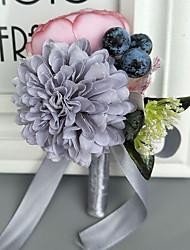 economico -Bouquet sposa Fiore all'occhiello Matrimonio Poliestere 10 cm ca.
