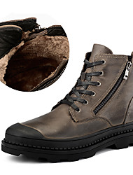 cheap -Men's Shoes Nappa Leather Winter Fall Fluff Lining Comfort Boots Mid-Calf Boots Zipper for Casual Party & Evening Black Brown