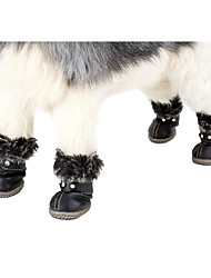 Dog Boots Snow Boots Dog Clothes Casual/Daily Keep Warm Leisure Adjustable New Year's Solid Red Black Costume For Pets