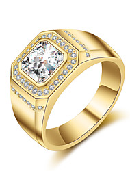 cheap -Men's AAA Cubic Zirconia Band Ring - Rhinestone, Titanium Steel 8 / 9 / 10 Gold / Silver For Wedding / Party