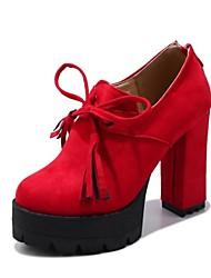 Feminino Sapatos Veludo Tecido Primavera Outono Inovador Gladiador Saltos Salto Grosso Ponta Redonda Mocassim Ziper Cadarço Para Social