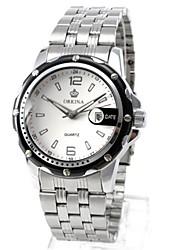 Недорогие -Муж. Повседневные часы Модные часы Механические часы С автоподзаводом Металл Серебристый металл Аналоговый Белый Черный / Нержавеющая сталь