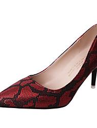 Недорогие -Жен. Обувь Наппа Leather Весна Лето Туфли лодочки Обувь на каблуках На шпильке для Повседневные Черный Серебряный Красный