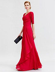 cheap -Sheath / Column V Neck Floor Length Chiffon Corded Lace Mother of the Bride Dress with Criss Cross by LAN TING BRIDE®