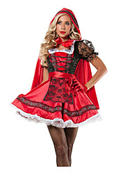 cheap -Princess Fairytale Little Red Riding Hood Cosplay Costume Adults' Halloween Festival / Holiday Halloween Costumes Red Fashion Vintage