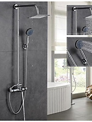Contemporary Shower System Handshower Included Thermostatic with  Ceramic Valve Two Holes for  Chrome , Shower Faucet