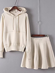 Women's Beach Simple Spring Fall Hoodie Skirt Suits,Solid Hooded Long Sleeve