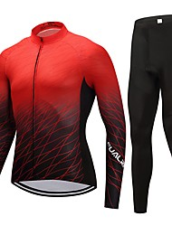 Cycling Jersey with Tights Unisex Long Sleeves Bike Clothing Suits Fast Dry Solid Winter Cycling/Bike Black/Red