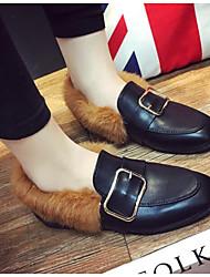 Недорогие -Жен. Обувь Шерсть Полиуретан Весна Осень Удобная обувь Меховая подкладка Мокасины и Свитер На плоской подошве для Повседневные Черный