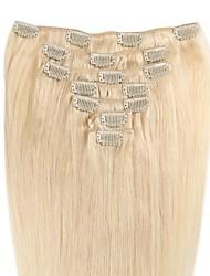 Недорогие -Зажим 14-24 дюйма в выдвижениях человеческих волос 100% реальные человеческие волосы шелковистой прямой тип много поставкы цветов 70-120g