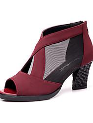 economico -Da donna Stivaletti da danza Tulle Finta pelle Sandali Sneaker Professionale Quadrato Nero Rosso Blu