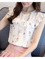 cheap -Women's Daily Casual T-shirt,Solid Print Round Neck Short Sleeves Cotton Polyester