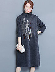 cheap -Women's Daily Going out Loose Sweater Dress,Embroidered Stand Midi 3/4 Length Sleeves Wool Cotton Winter Fall Mid Rise Micro-elastic