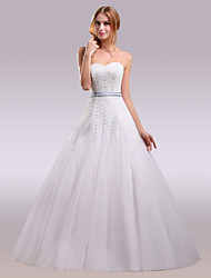 cheap -Ball Gown Strapless Floor Length Lace Satin Tulle Wedding Dress with Appliques Lace Sashes/ Ribbons by Nameilisha