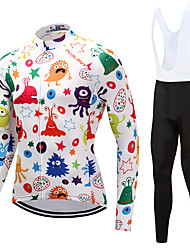 billiga Sport och friluftsliv-FUALRNY® Herr Långärmad Cykeltröja med Haklapp-tights - Vit Cykel Klädesset Vinter, Fleece Graffiti / Hög Elasisitet