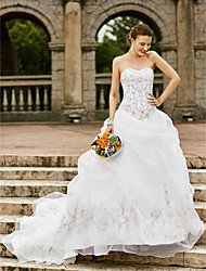 cheap -Ball Gown Strapless Chapel Train Organza Custom Wedding Dresses with Embroidery Pick Up Skirt by LAN TING BRIDE®