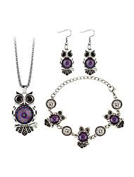 Women's Drop Earrings Necklace Bohemian Fashion Gift Stage Resin Alloy Owl Necklace Earrings Bracelets